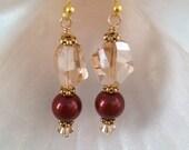 GARNET and GOLD Swarovski Crystal Earrings - Garnet Swarovski Crystal Pearl, Swarovski Cosmic Crystal, Seminoles - Noles  - Made in USA
