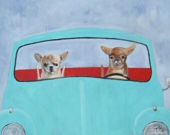"Chihuahua Art Print of an original oil painting/""Road Rage""/VW/Beetle/Bug/8 x 10/Dog art"