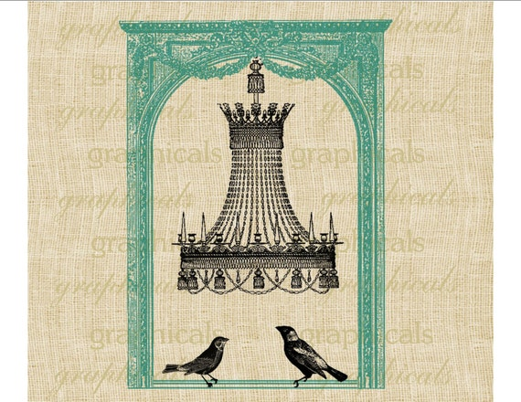 Chandelier instant clip art  Window birds Aqua digital download image for iron on fabric transfer burlap decoupage paper tag tote No 228