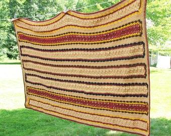 SALE - Vintage crochet afghan throw blanket in tan brown burgundy maroon yellow - Preppy masculine crochet afghan 68 x 42 in