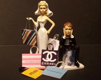 SHOPPING BRIDE Retail Therapy with Shopping Bags and Groom Wedding Cake Topper FUNNY