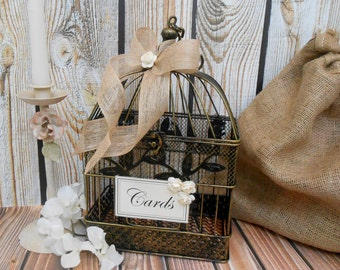 small burlap wedding birdcage card holder wedding card holder wedding card box burlap
