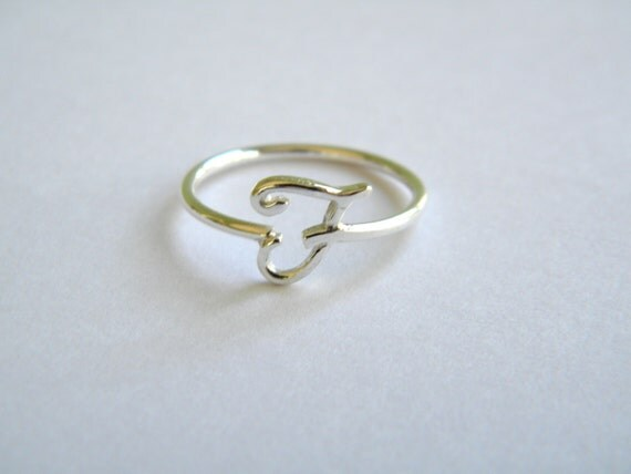 Handcrafted silver 925 letter f ring free shipping in the usa for Letter e ring