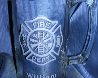 Etched fireman beer mug, engraved beer mug, etched glass mug, engraved glass mug, engraved 21st 40th 50th beer mug, etched 50th mug
