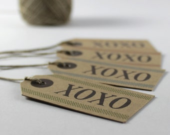 "Kraft Gift Tags ""XOXO"", Set of 8 Small Tags"