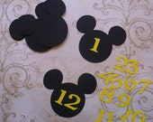 Black Heads Mickey Mouse Die Cuts for DIY Crafts Baby Centerpiece Yellow Numbers 1 - 12 months for pictures Happy Birthday Party
