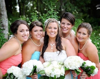 Pearl Bridesmaids Necklace Simple Pearl Strand Necklace Bridal Party Pearl Necklace Single Strand Pearls Ivory Bridesmaids Jewelry White