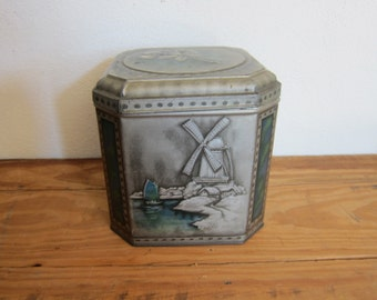 1900 Large COLMANS Metal Advertising Mustard Tin, Vintage Industrial Home Decor Kitchen Canisters, Unique Housewarming Gifts, Cookie Jars