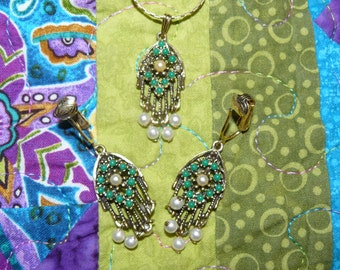 Vintage SARAH COVENTRY Necklace and Matching Earrings Set Boho Retro Style