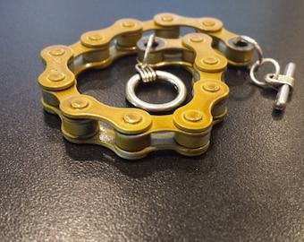 Gold Bronze Handmade Bicycle Chain Bracelet , Cyclist MTB gift, Green Gift,  Cyclist Biker