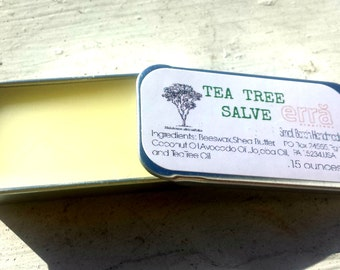 tea tree salve, natural skin care, skin healing salve, stocking stuffer, 0.15 oz - Small Batch Made in Pittsburgh