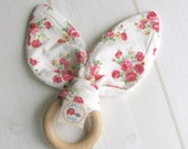 Natural Wooden Teething Ring Soother in 'Summer Roses' and Bamboo Terry....another baby gift idea from Cwtch Bugs