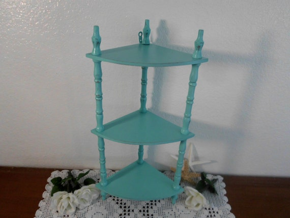 Sea Green Display Shelf Rustic Wood 3 Tier Corner Furniture Shabby Chic Distressed Wooden Beach Cottage Tropical Island Nautical Home Decor