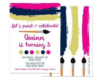 ART PARTY Invitation, Paintbrush, Artist, Custom Printable
