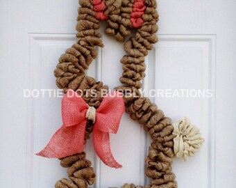 Burlap Easter Bunny Mesh Wreath
