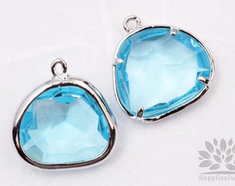 F119-02-S-IB// Silver Framed Ice Blue Glass Stone Pendant, 2Pcs