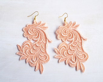 Coral Lace Earrings - Customizable Colors