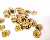 salvaged beads spacers gold and rhinestones lot 30 pcs  lot 70