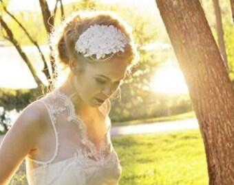 Vintage inspired lace flower bridal headpiece headband