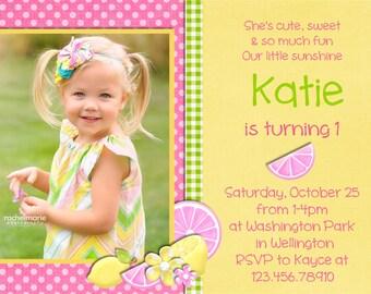 Pink Lemonade Birthday Invitation Printable and Custom