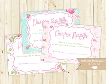 Cottage Chic Floral Printable Diaper Raffle Tickets for Baby Shower INSTANT DOWNLOAD