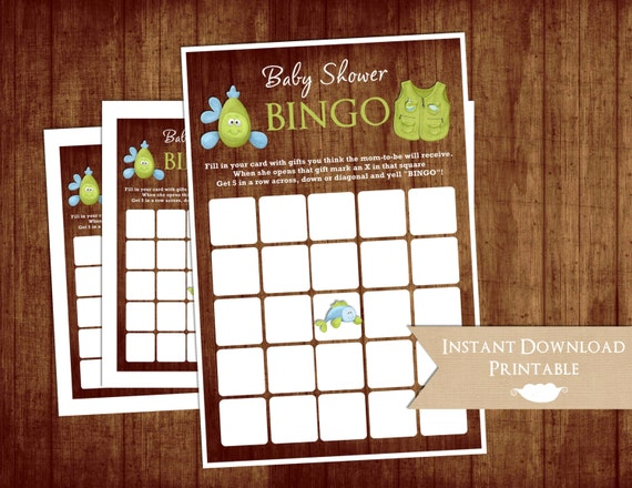 Boy Baby Shower Bingo Game Cards Rustic Fising Printable INSTANT DOWNLOAD