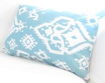 Teal Turquoise Ikat Lumbar Pillow Cover Blue Chair Pillow