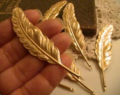 Medium Feathers Raw Brass Stamping Metal Findings Jewelry Supplies Mix Media Collage Altered Art Jewelry Supplies (2pc)