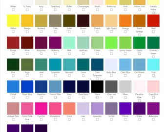 Color Swatches For Custom Wedding Shoes & Accessories(up to 6 different colors per order)