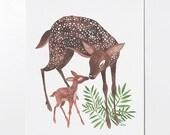 Deer Mom - 8x10 art print