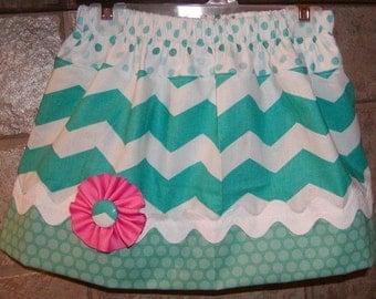 Teal Chevron..Girls Skirt, Twirl skirt. Available in 0-12 months, 1/2, 3/4, 5/6, 7/8, 9/10 Bigger Sizes Available