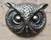 Large Brass Owl Head, Brass Ox - Jewelry , Scrapbooking Supplies by CalliopesAttic