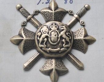 Medieval brass crest for scrapbooking, Brass Ox