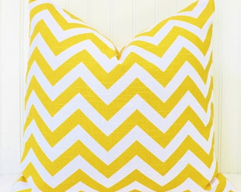 Yellow Pillow Throw Pillow Zig Zag Yellow Cushion Covers.Stripes.Chevron.Cover.Print Both Sides.All Sizes.18 x 18 inch
