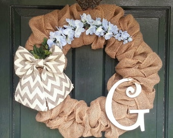 Burlap Wreath with Gray Chevron Burlap Bow and Flowers- Front Door Wreath- Monogram Wreath-Wedding Decoration- Wedding Gift-