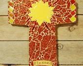 Cross, Mosaic Glass & Ceramic Cross, Yellow and Orange