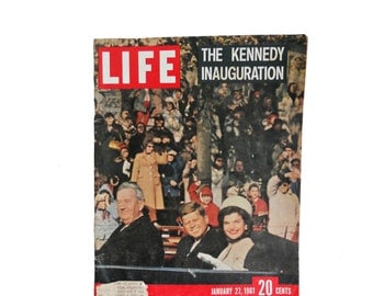 "Vintage Life Magazine - The Kennedy Inauguration - January 27, 1961 - ""A New Hand, A New Voice, A New Verve"""