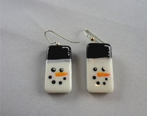 Frosty The Snowman Hand painted Domino Earrings   Holiday Jewelry  Snowman Jewelry  item 1240