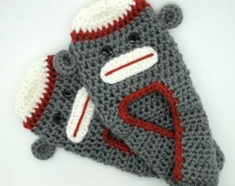 Adult Sock Monkey Slippers, Unisex Crochet Slippers, Sock Monkey Slippers, Teen Slippers, Adult Slippers, House Slippers