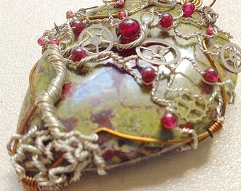 Tree of Life Pendant - Dragon's Blood Jasper with Garnet and Watch Gears - Steampunk Theme - Blood red and Green