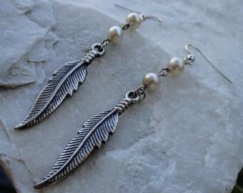 Feather Faux Pearl Dangle Earrings