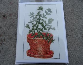 Marjoram Hand Drawn Blank Card