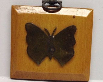 Vintage wall hanging brass butterfly plaque with watch key hook 3 x 3