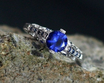 Blue Spinel Engagement Ring & Sapphires Filigree 1ct 6mm Dionysus Custom Size White-Yellow-Rose Gold-10k-14k-18k-Platinum