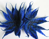 "Pair of Brooches ""Blue flowers"""