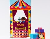 Puppet Theatre Personalised doorway theatre in circus Wild Things print with optional  hand puppets