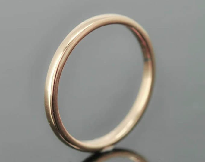 14K rose gold ring, 1mm x 1mm, wedding band, wedding ring, half round, mens wedding ring, mens wedding band, size up to 9