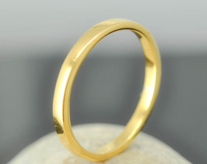 14K Yellow Gold Ring, 1.5mm x 1.5mm, Wedding Band, Wedding Ring, Yellow Gold Band, Flat Band, Square Band, Size up to 9
