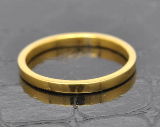 14K Yellow Gold Ring, 1.5mm x 1mm, Wedding Band, Wedding Ring, Yellow Gold Band, Flat Band, Square Band, Size up to 12