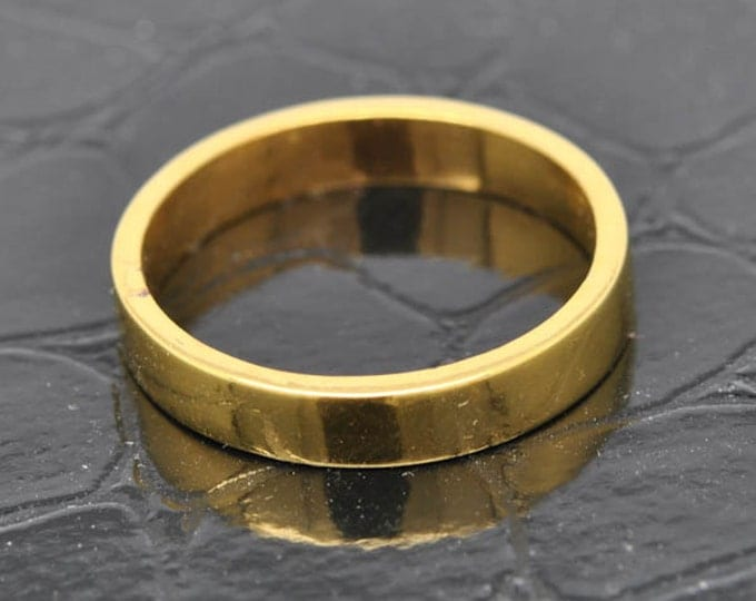 14K Yellow Gold Ring, 2mm x 1.5mm, Wedding Band, Wedding Ring, Yellow Gold Band, Flat Band, Square Band, Size up to 9